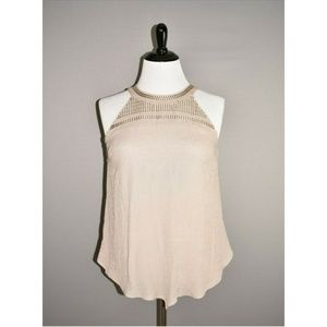 AGB NEw Taupe Embroidered Sleeveless Tank Blouse